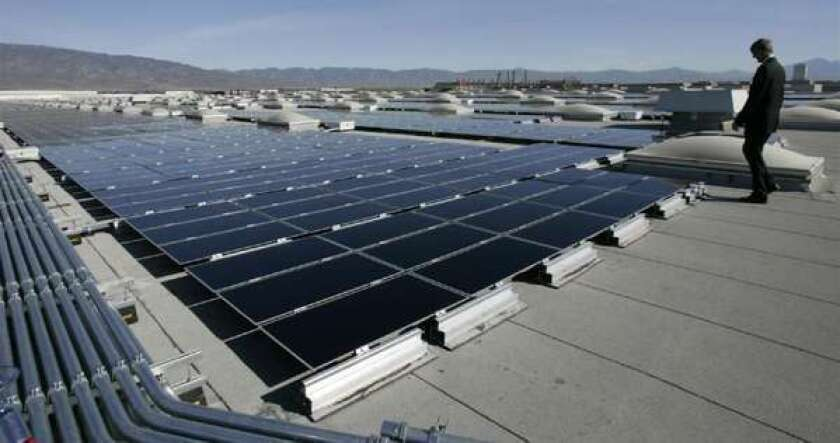 Solar panels on a warehouse rooftop