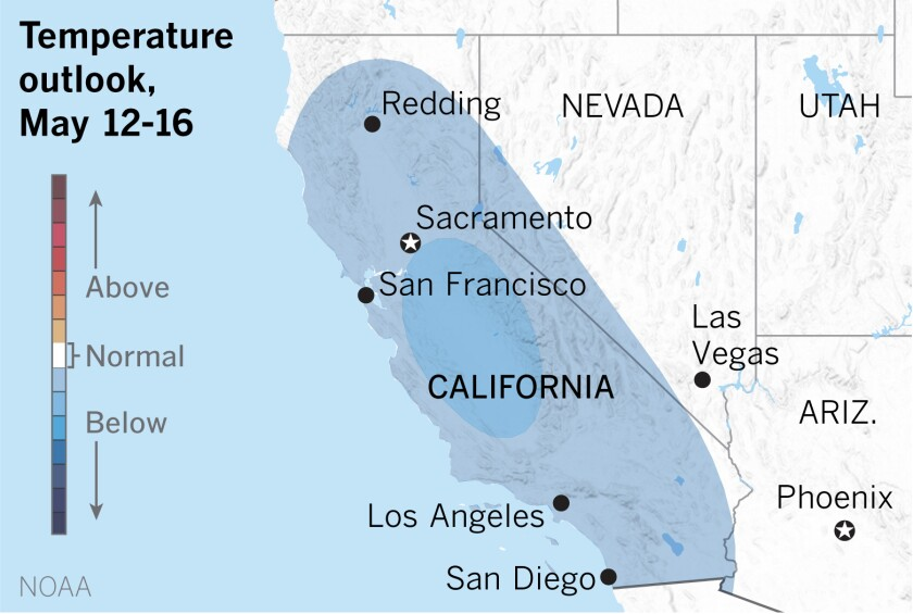 Map showing cooler temperatures expected in California