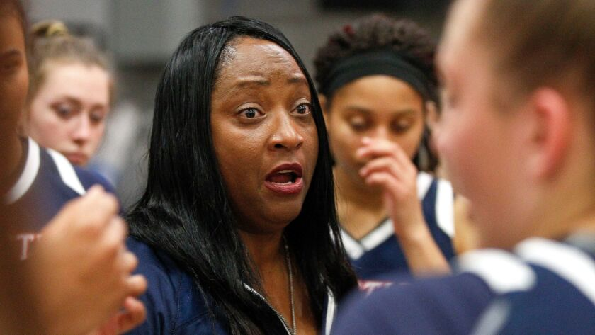SAN DIEGO, February 2, 2018 | Christian coach Vickie Carrington talks to her players during a timeou