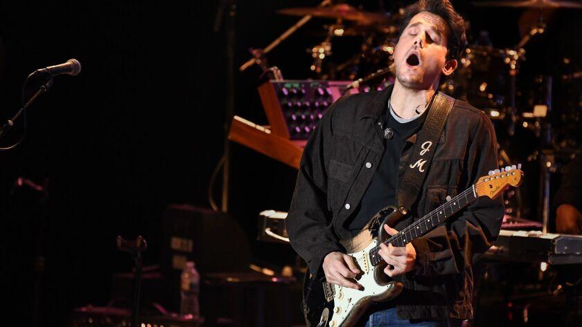 LOS ANGELES, CALIFORNIA , OCTOBER 31, 2018-John Mayer performs during a memorial concert for Mac Mil