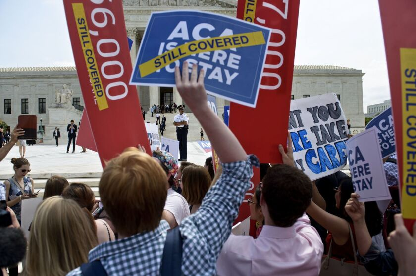 Supporters of the Affordable Care Act rallied outside the Supreme Court in June as the Court upheld a key provision of theact.