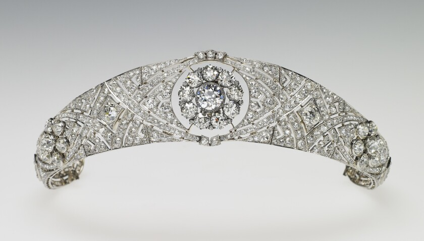 The diamond and platinum bandeau tiara lent to The Duchess of Sussex by Her Majesty The Queen. <br/>