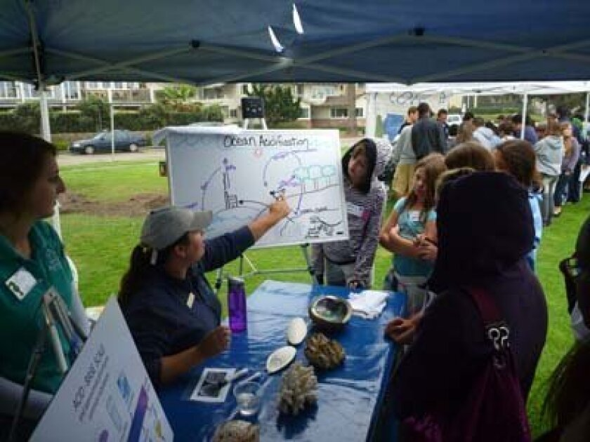 Students get information about water quality at La Jolla Shores. Photo: Courtesy