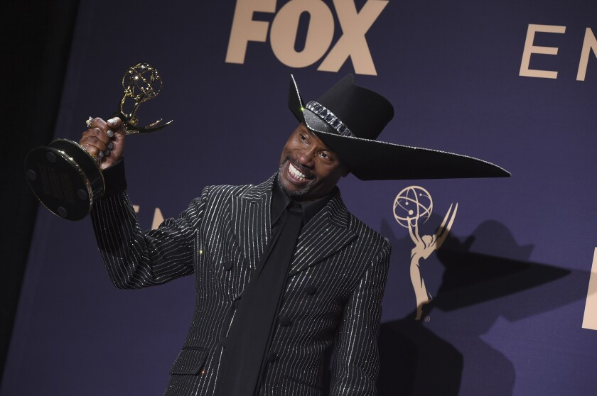 "Billy Porter, winner of the award for outstanding lead actor in a drama series for ""Pose,"" poses in the press room at the 71st Primetime Emmy Awards on Sunday, Sept. 22, 2019, at the Microsoft Theater in Los Angeles. (Photo by Jordan Strauss/Invision/AP)"