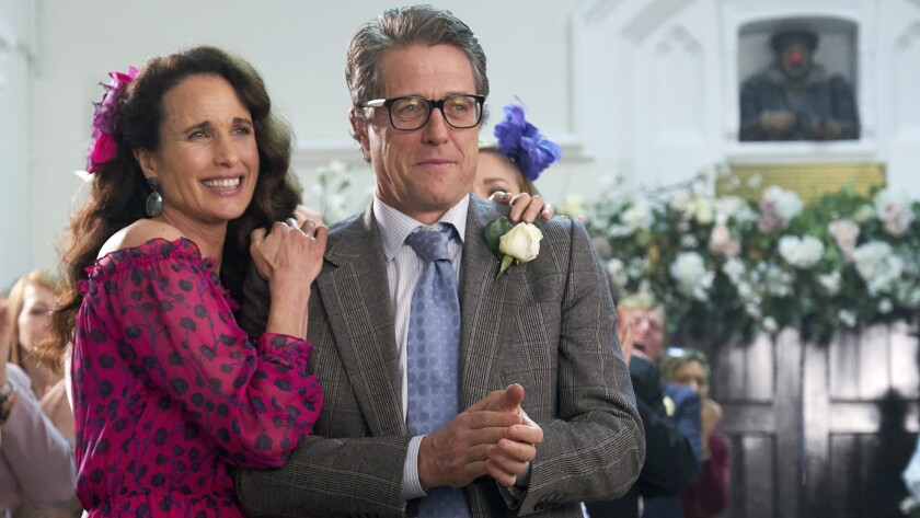 "Andie MacDowell and Hugh Grant in ""Red Nose Day"" on NBC."