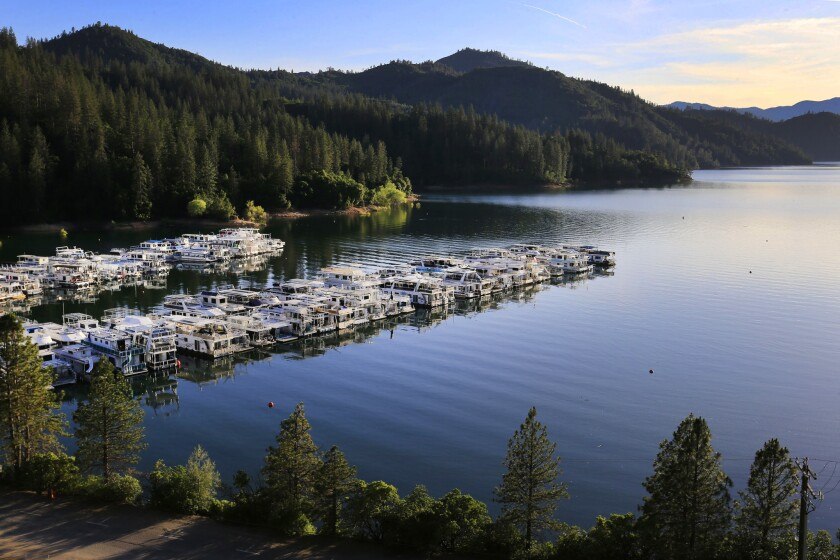 The Bridge Bay Marina at Lake Shasta, seen in May, after it was filled by rain and snowmelt.