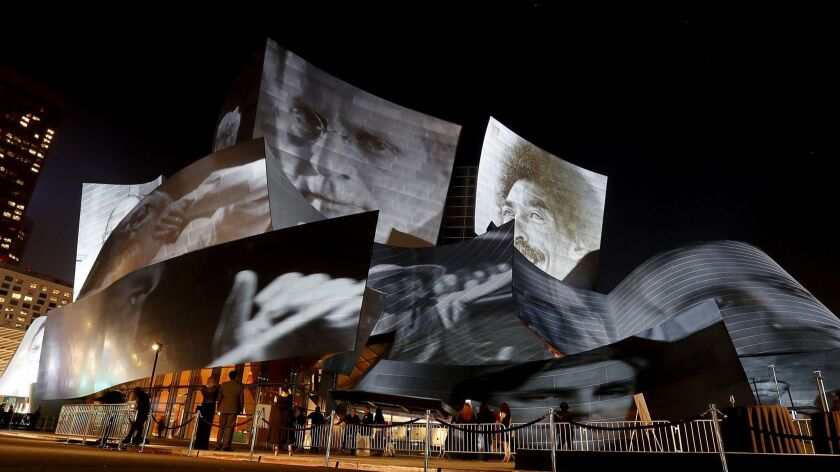 Artwork by Refik Anadol is projected on the exterior of Walt Disney Concert Hall during the kickoff of the L.A. Phil's centennial in 2018.