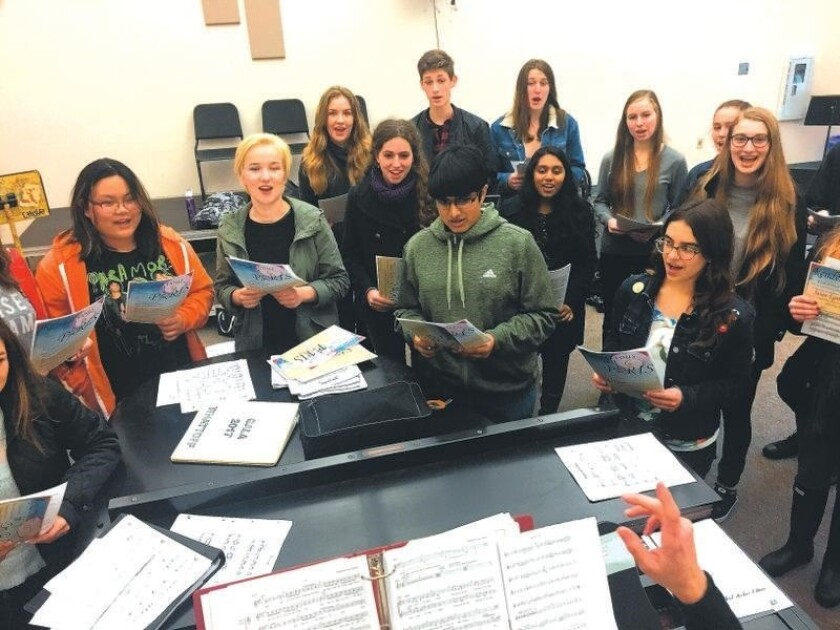 """Canyon Crest Academy students rehearse for the upcoming """"Rendezvous in Paris."""""""