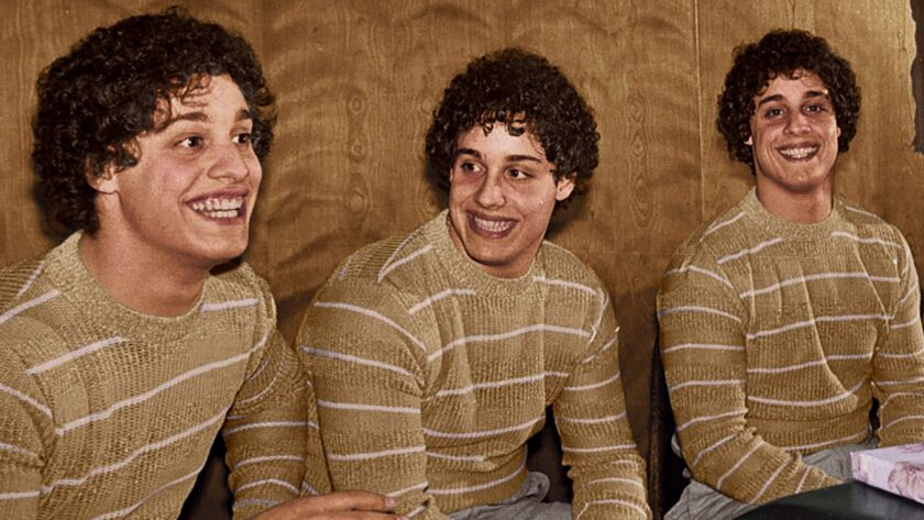 "Bobby Shafran, left, David Kellman and Eddy Galland were separated at birth. They are the subjects of the new documentary ""Three Identical Strangers."""