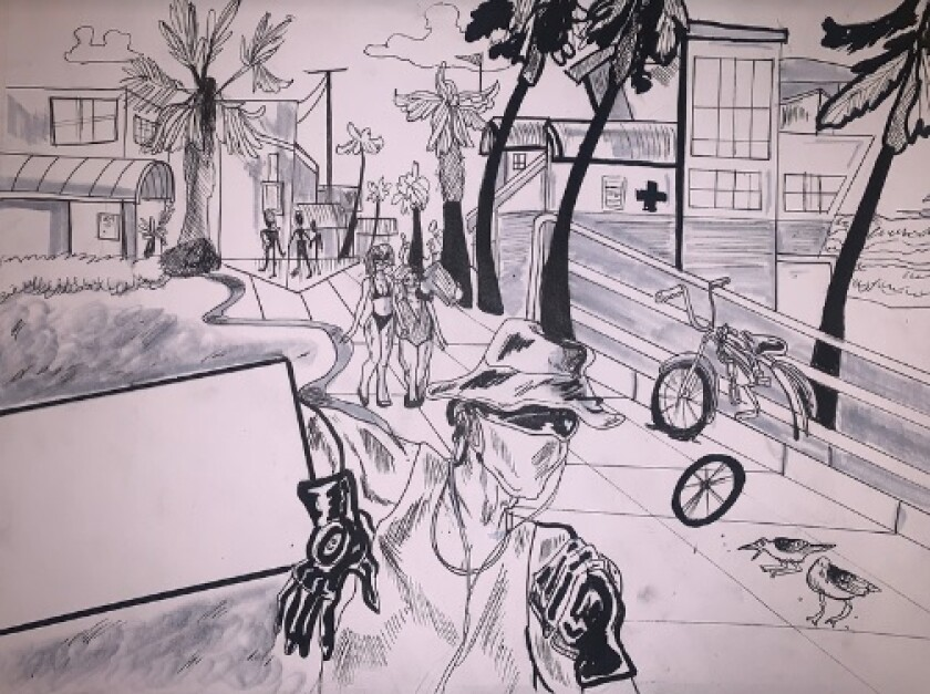 """Board Walk,"" a sketch by Chelsya Griffis, 16, a student at Mission Bay High School."