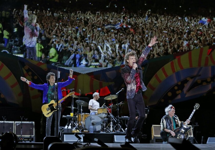The Rolling Stones are seen performing in Havana in March.