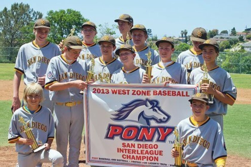 On the Inside Design team are Pony Champions and ran the table in the San Diego Pony Interleague Tournament. Courtesy Photo