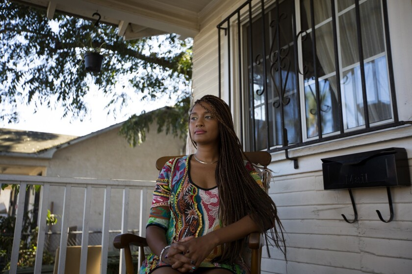 LOS ANGELES, CA SPETEMBER 29, 2018: Portrait of student Kumi James, who was the recipient of a hea