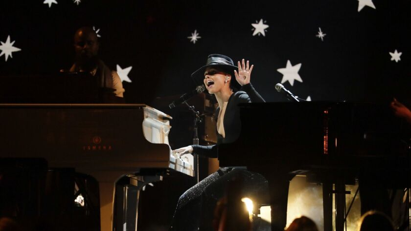 LOS ANGELES, CA - February 10, 2019 Host Alicia Keys performs onstage during the 61st GRAMMY Awards