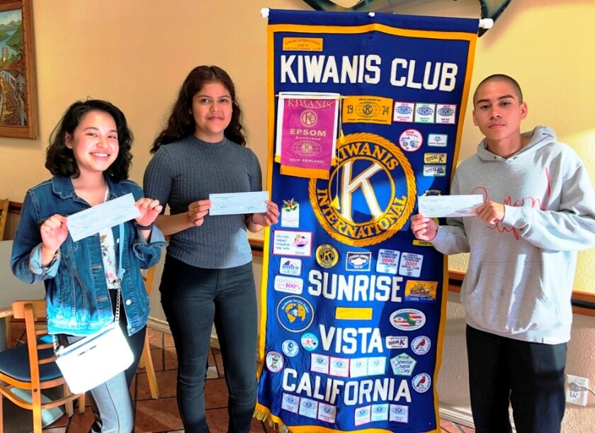 The Kiwanis Club of Sunrise Vista recently presented scholarships to Michelle Lynch, Stefani Perez and Jose Morales in varying amounts.