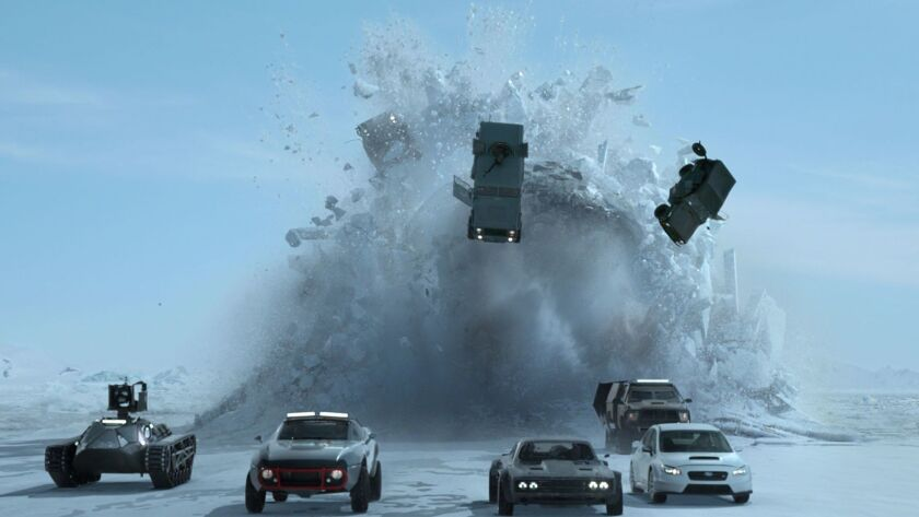 "Shown is a scene from ""The Fate of the Furious."""