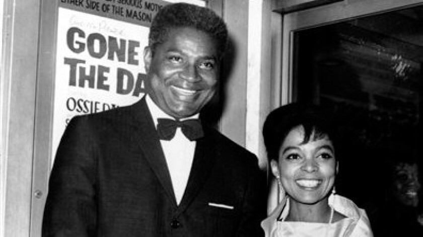 """Ossie Davis and Ruby Dee at the opening night gala of """"Gone Are the Days!"""" in New York."""