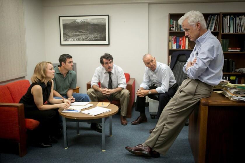 """Michael Keaton, Mark Ruffalo, John Slattery and Rachel McAdams at work in """"Spotlight."""""""
