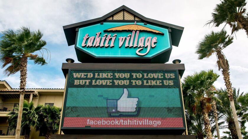 LAS VEGAS, NV - JUNE 9: The entrance to Tahiti Village Resort is viewed on June 9, 2016 in Las Vega