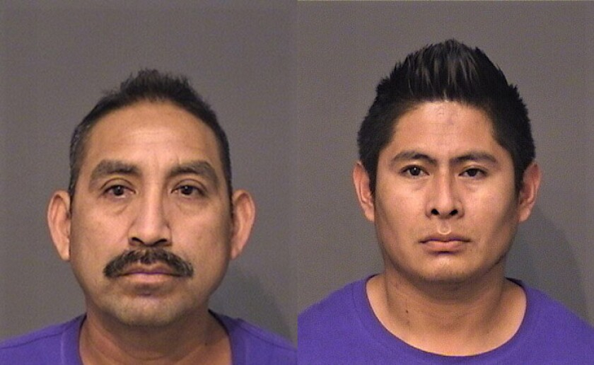 Florentino Contreras Bacilio, left, and Angel Lopez Evaristo, of Long Beach were arrested