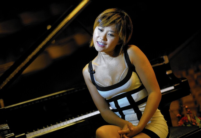 Chinese pianist Yuja Wang on the stage of the classical music Festival George Enescu at the Sala Palatului Hall in Bucharest.