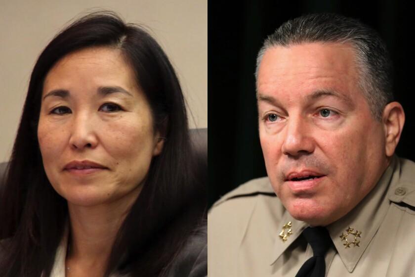 Diptych shows L.A. County Chief Executive Sachi Hamai and L.A. County Sheriff Alex Villanueva