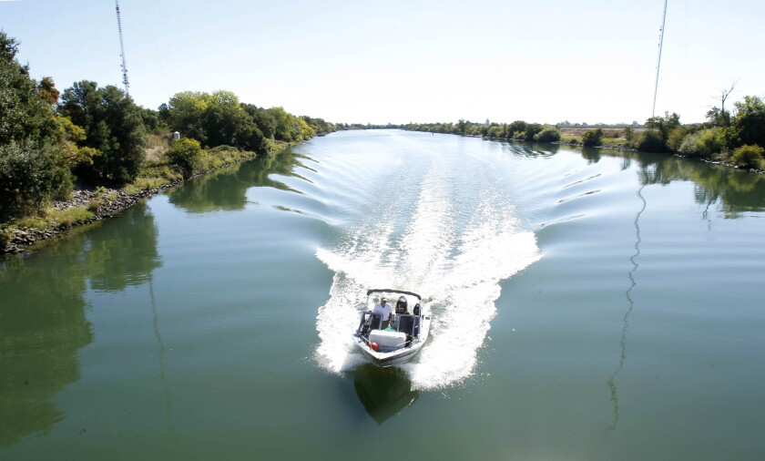 A boat on the the Sacramento-San Joaquin Delta