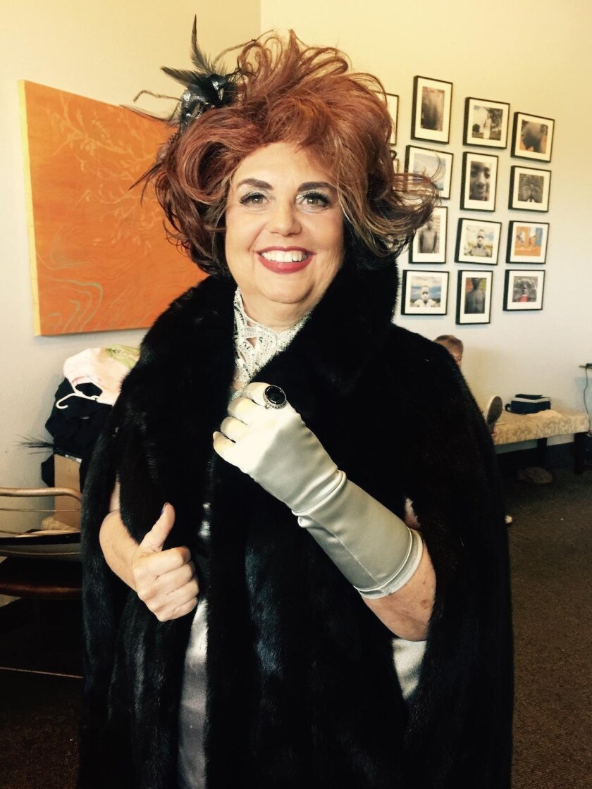 Local theater critic Pat Launer is dressed for excess as ruthless theater critic Lita Encore.