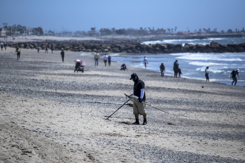 In Ventura, a man hunts for treasure with a metal detector on a wide open but restricted San Buenaventura State Beach on Saturday, May 2.