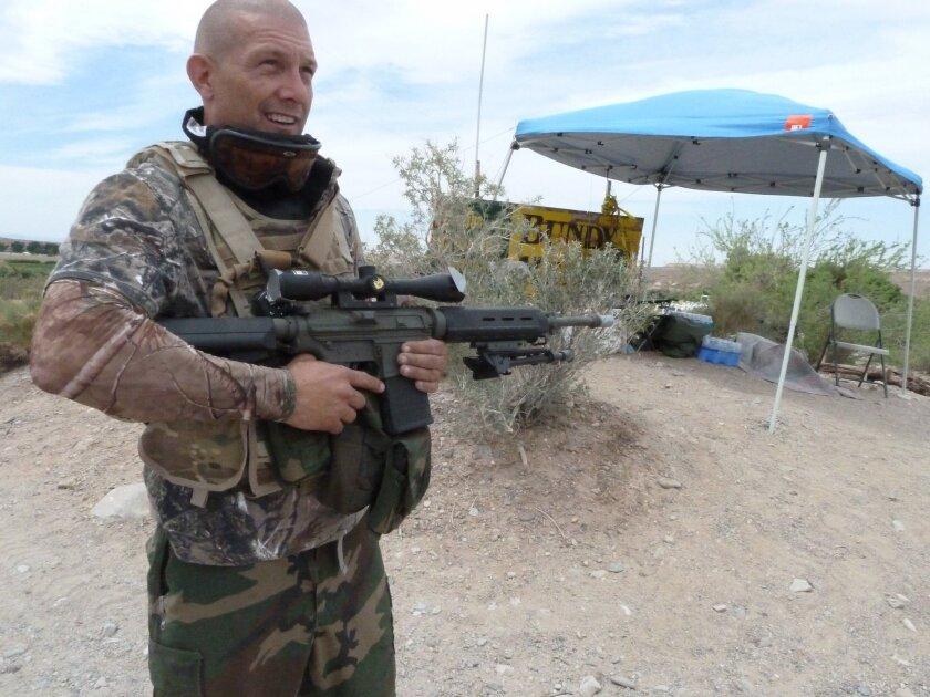 Militiaman stands guard