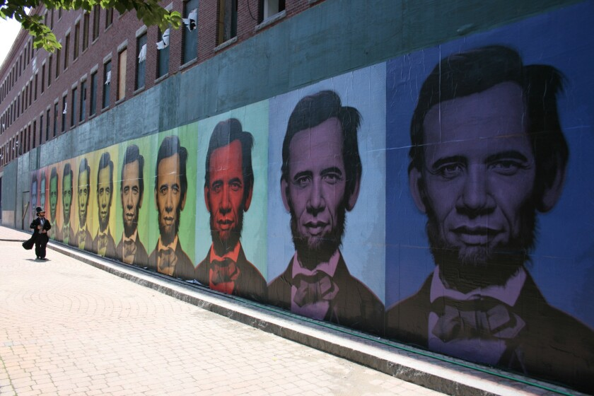 """Ron English's """"Abraham Obama"""" mural that went up in Boston on July 4th 2008. Daniel Lahoda is dressed as Lincoln."""