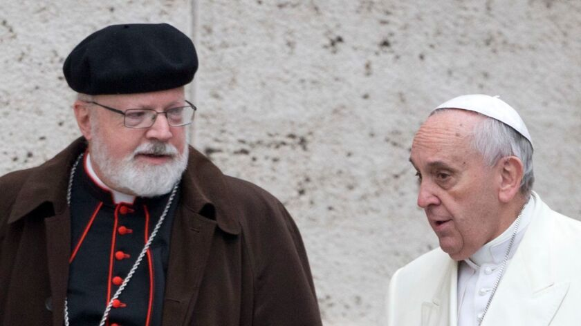 Pope Francis, right, talks with Cardinal Sean O'Malley of Boston, his top advisor on abuse by priests, in 2015.