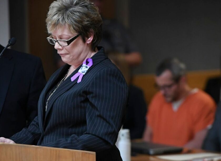 Sandra Onorati Rzucek, the mother of Shanann Watts, reads a statement during court at the Weld County Courthouse on Monday, Nov. 19, 2018 in Greeley, Colo. Christopher Watts received three consecutive life sentences without a chance at parole on Monday.