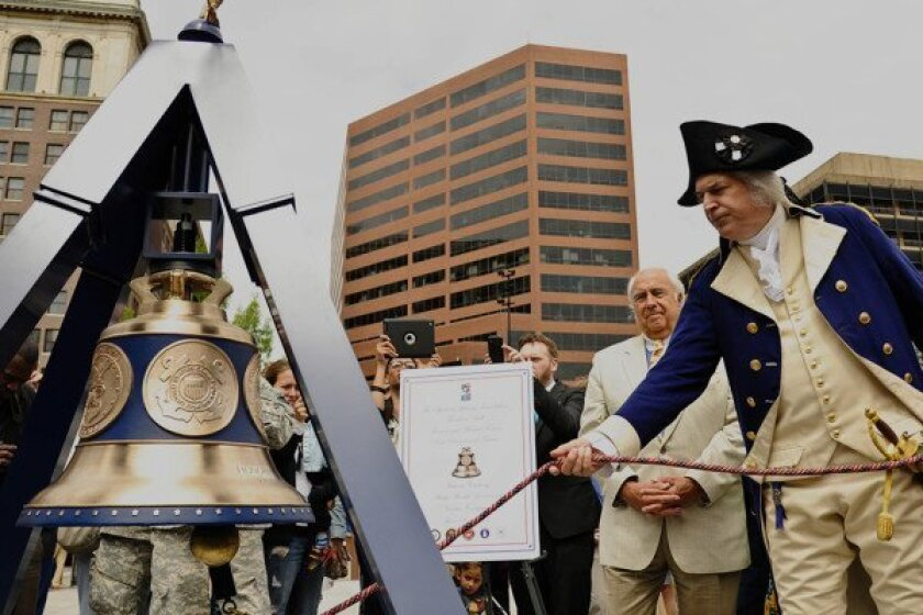 The Freedom Bell was christened in a ceremony at historic Independence Hall in Philadelphia, Pa. on Flag Day in 2013.