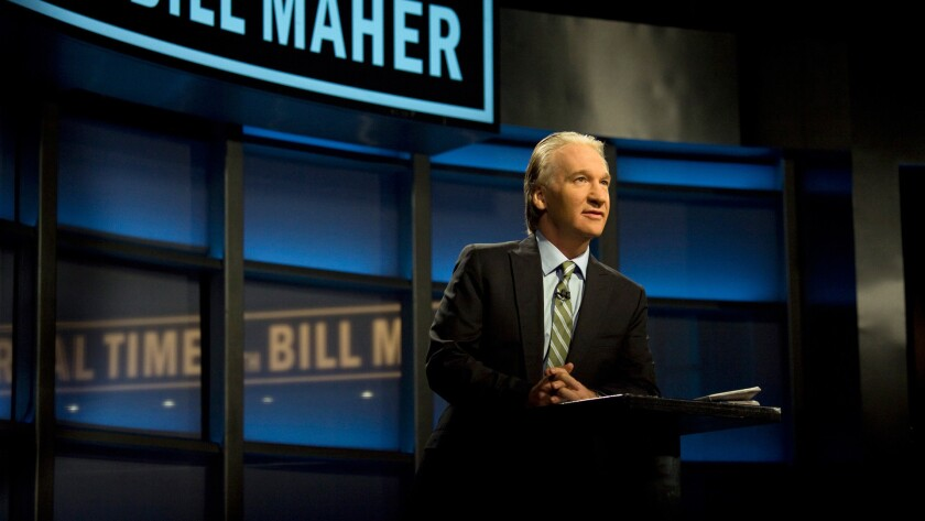 "Bill Maher on the set of his ""Real Time With Bill Maher"" show"