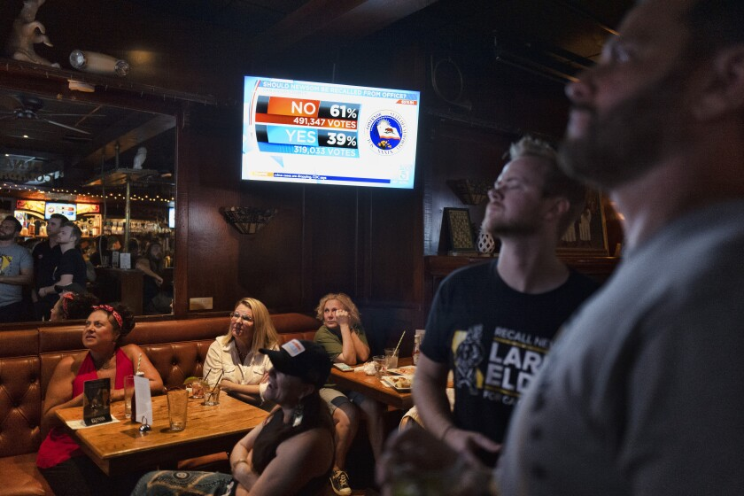 A group of pro-recall voters gather to watch early results of the California Recall election during an election party at the Pineapple Hill Saloon & Grill in Los Angeles on Tuesday, Sept. 14, 2021. (AP Photo/Richard Vogel)