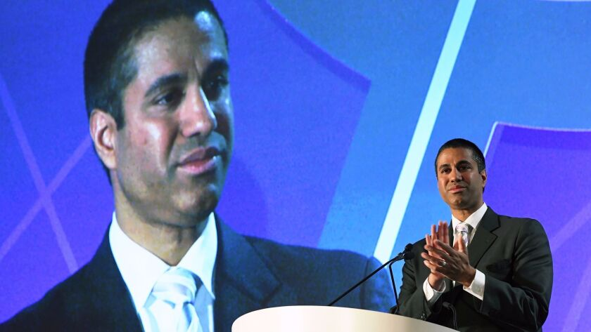 LAS VEGAS, NV - APRIL 25: Federal Communications Commission Chairman Ajit Pai speaks during the 201