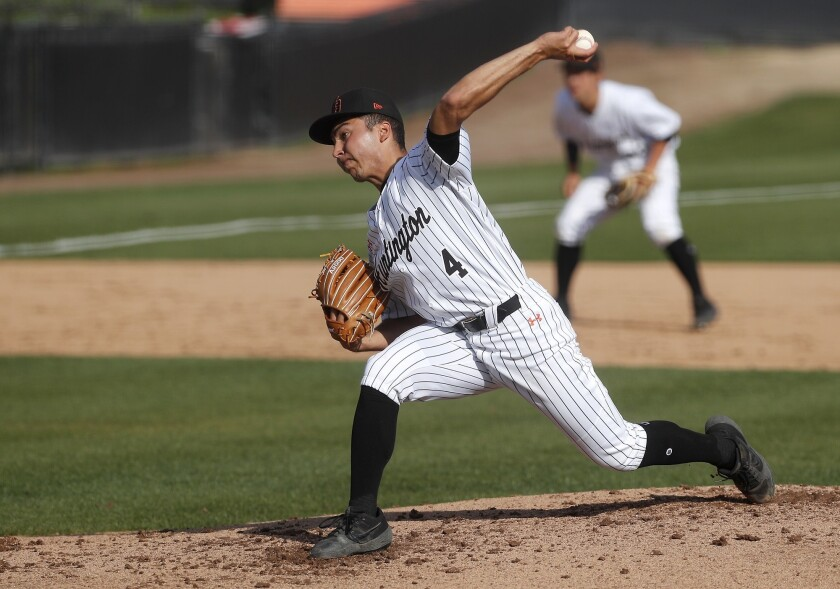 Huntington Beach High starter Edward Pelc pitches against JSerra during the second inning in a nonle
