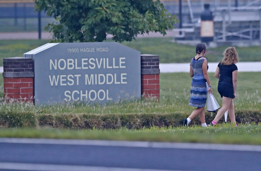 Students arrive at Noblesville West Middle School in August.
