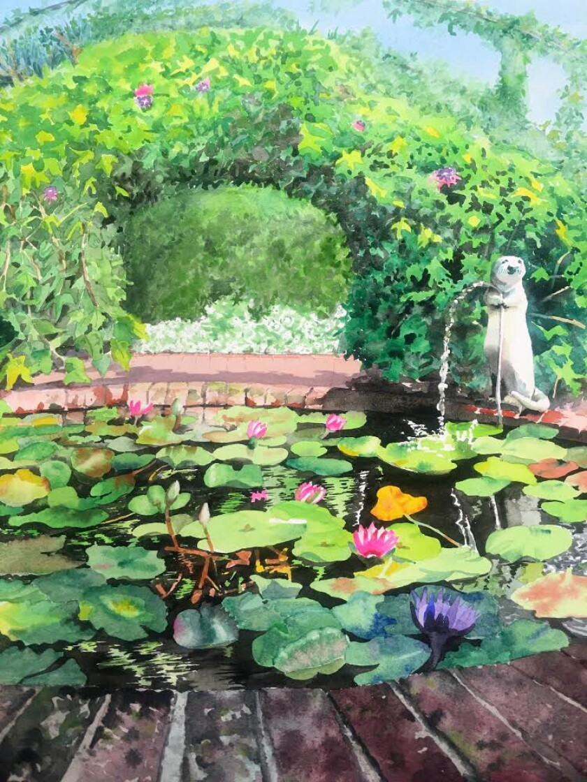 Cathy Hull's whimsical watercolor painting of an otter attending to the lily pond at the Sherman Library & Gardens.