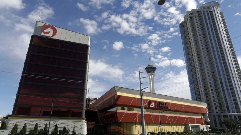 LAS VEGAS, NV - MARCH 15, 2018: An exterior of the Lucky Dragon Las Vegas hotel and casino is pictur