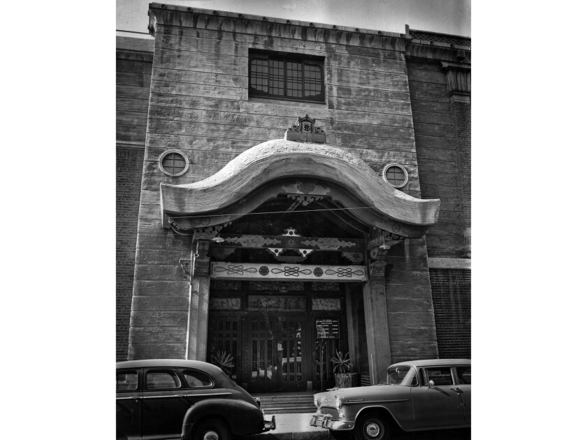 Nov. 8, 1955: Exterior of Hompa Hongwanja Buddhist Temple in LIttle Tokyo. This photo was published