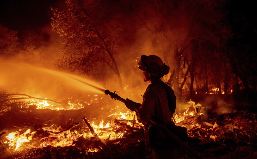 A firefighter sprays a hose on a wildfire