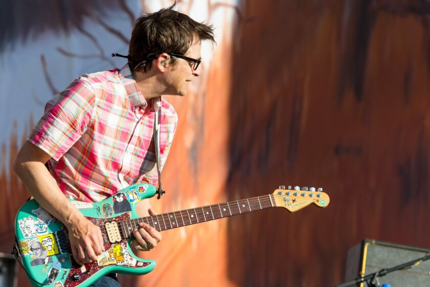 Rivers Cuomo of Weezer performs on stage during the Made In America Festival at Grand Park on Sunday, Aug. 31, 2014, in Los Angeles, Calif. (Photo by Paul A. Hebert/Invision/AP)