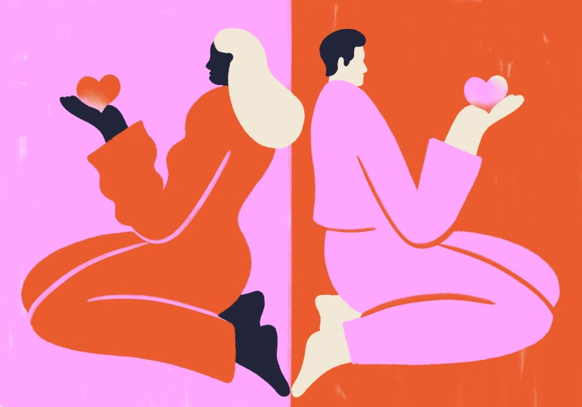 Illustration of a couple facing opposite directions, holding heart symbols in their hands.