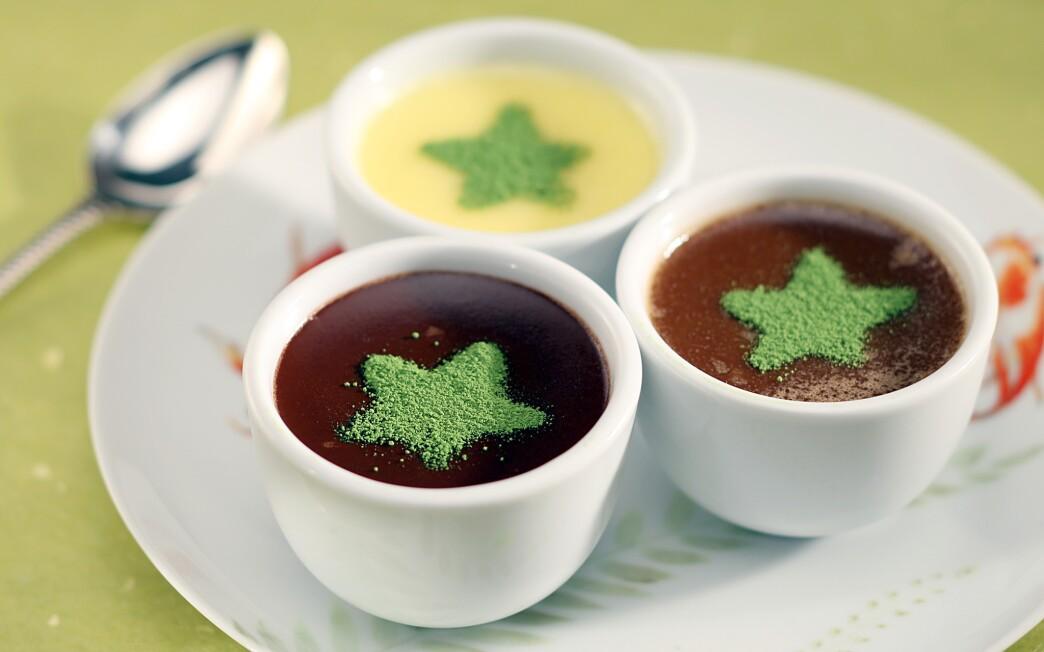 Trio of chocolate pots de creme with matcha