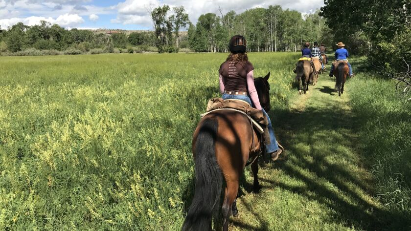 In addition to yoga, low-key rides along lush trails are part of the Cowgirl Yoga experience.