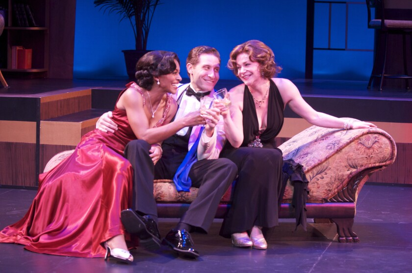 "Jennifer Shelton, Marc Ginsburg and Lindsey Alley in ""Let's Misbehave"" at Long Beach's  International City Theatre"