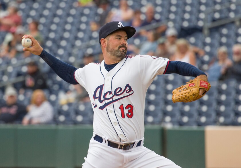 Reno Aces pitcher Zach Lee pitches against the Tacoma Rainiers.