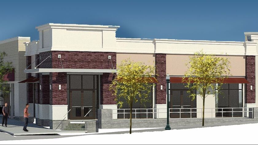 Artist's rendering of a potion of the first phase of retail development to be built in San Elijo's T